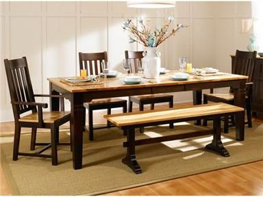 Country Hickory Collection Wood Dining Set