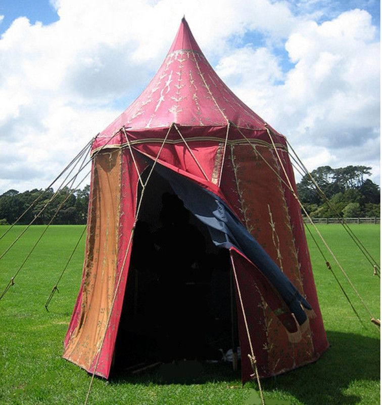 reputable site f71e6 cc013 Medieval style renaissance 8ft circular silk tent orange ...