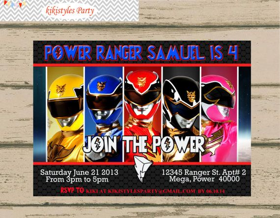 Power Ranger Birthday Invitation Birthday Card Printable Digital