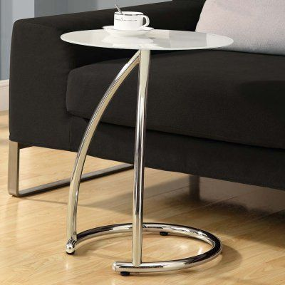 Monarch Round Chrome Metal Accent Table With Frosted Tempered Glass   I 3003