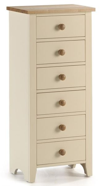Beautiful cream painted tallboy a narrow chest of - Shallow dressers for small spaces ...
