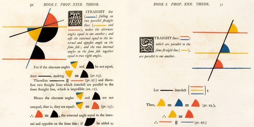 1847 edition of Euclid's Elements exquisitely illustrated with primary colors abstract art.