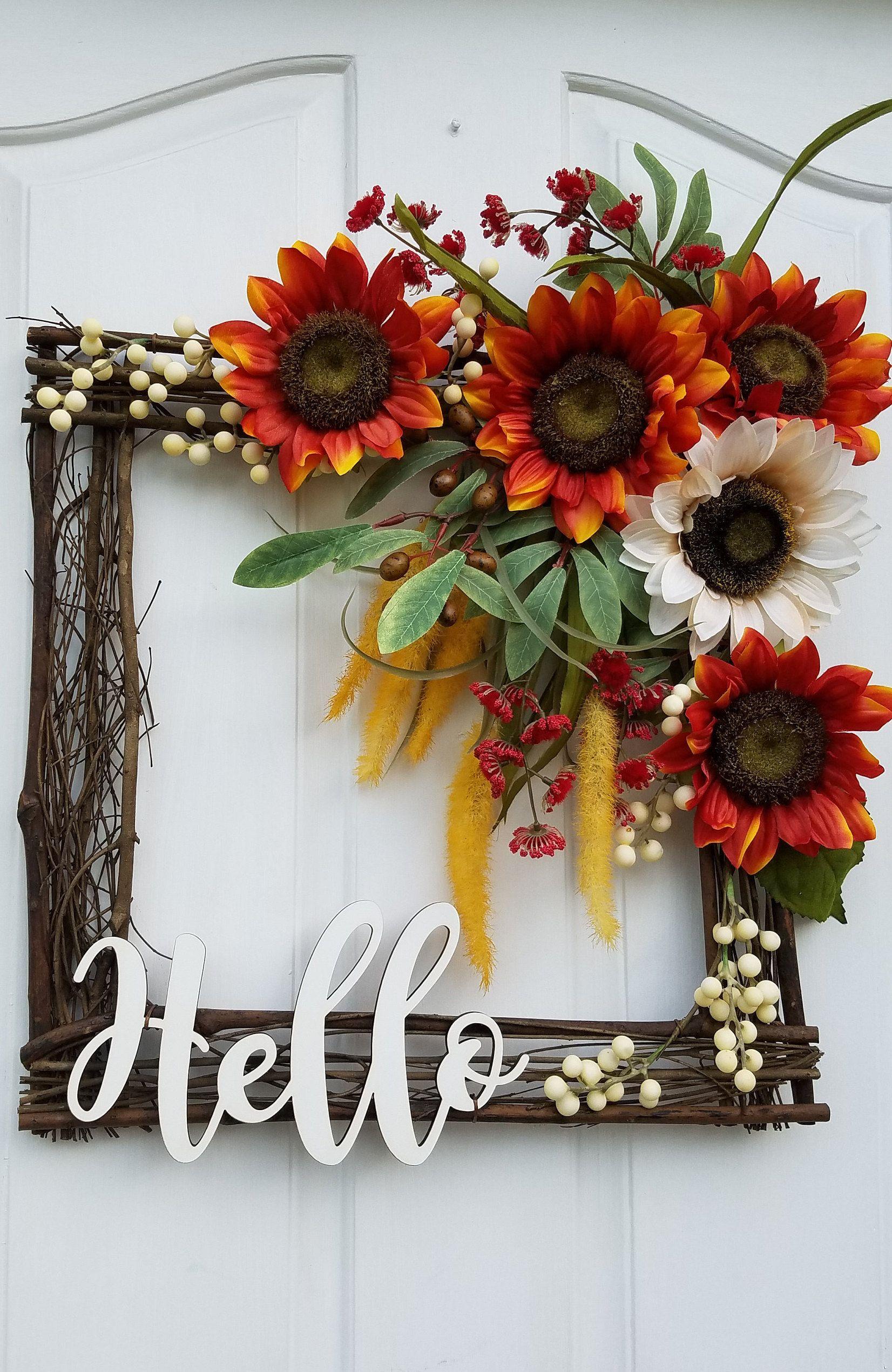 Photo of Square wreath for front door, sunflower wreath, autumn door decor, interior wreath