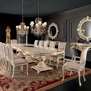 Dining-room-with-one-piece-painted-carved-table-Villa-Venezia ...