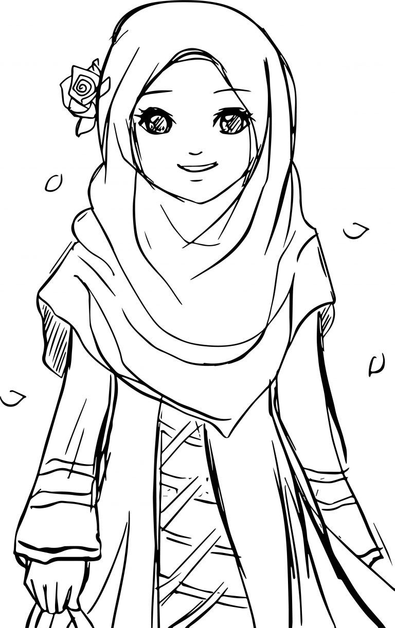Islamic Muslim Wears Hijab Girl Coloring Pages Dengan
