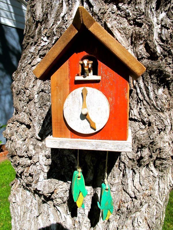 Barn wood moo-moo clock