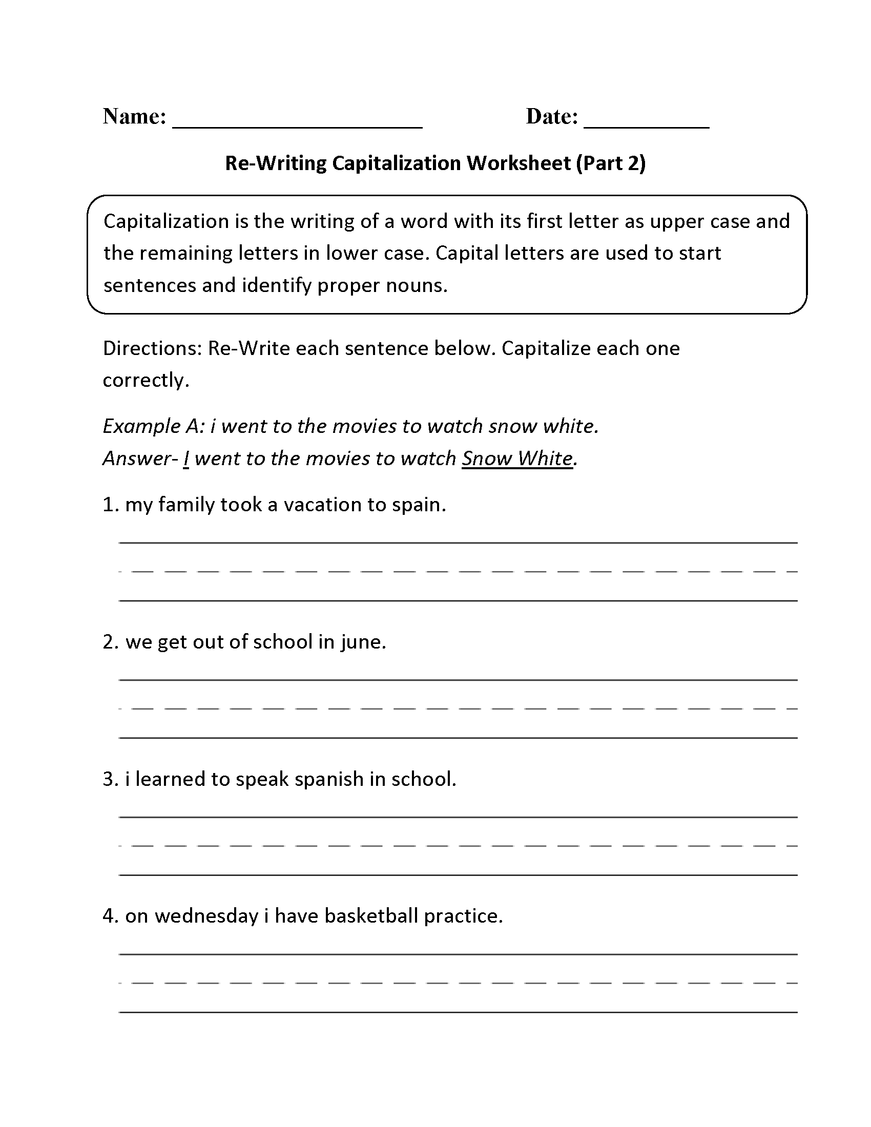 Re-Writing Capitalization Worksheet Part 2 | English | Pinterest