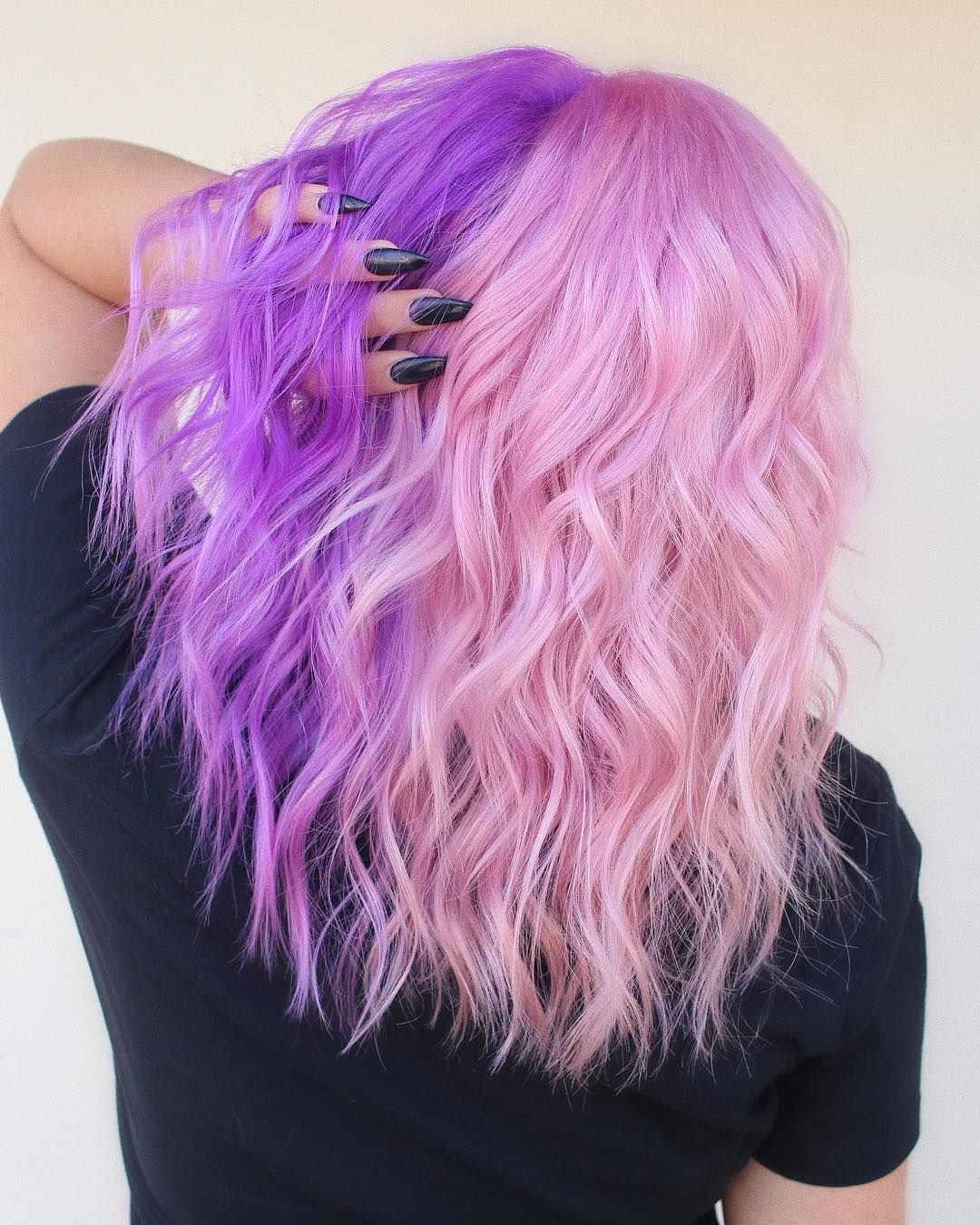 Kimberly Ibbotson On Instagram Color Split Using All Suavecitapomade Products Muse Pink And Paradox Purple Hair Styles Split Dyed Hair Hair Inspo Color