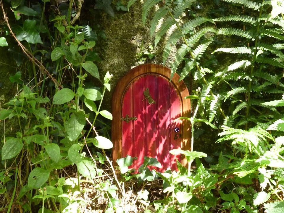 Handmade wooden fairy door hidden in the woods fairy for Secret fairy doors by blingderella