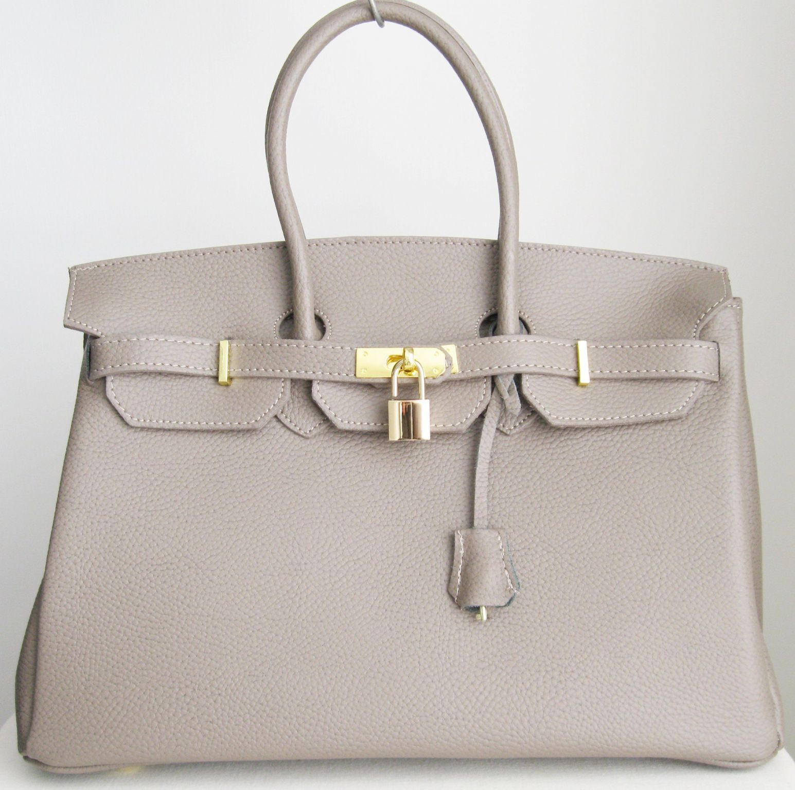 aaa08dc3cc9b grey-taupe-birkin-inspired-beautiful-italian-leather-handbag -with-gold-coloured-trims