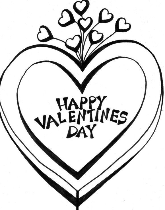 Valentine Coloring Page Heart | Valentine\'s window painting | Pinterest