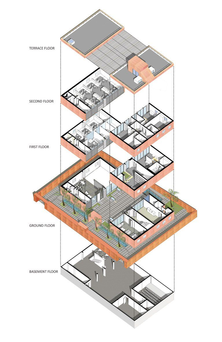 exploded axonometric Google Search Architecture