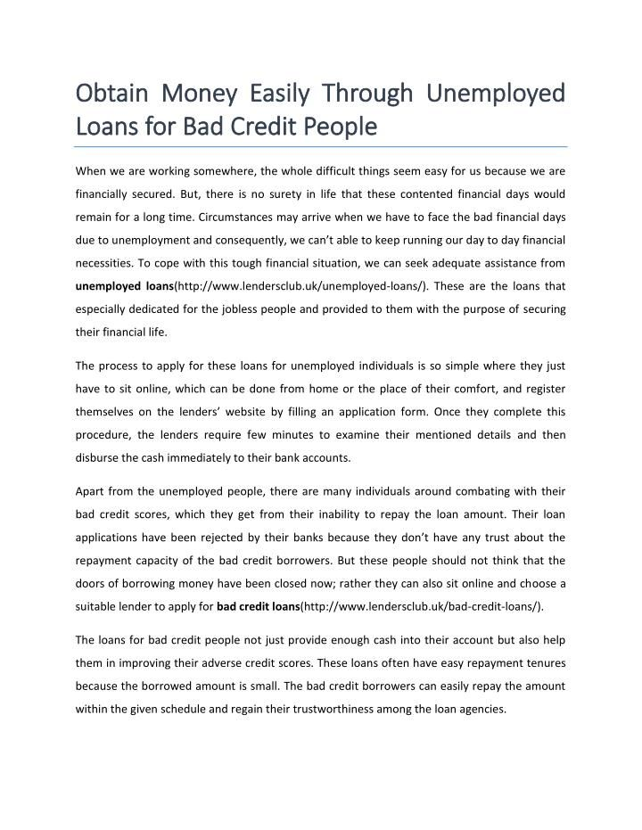 Unemployed Loans For Bad Credit People Loans For Bad Credit