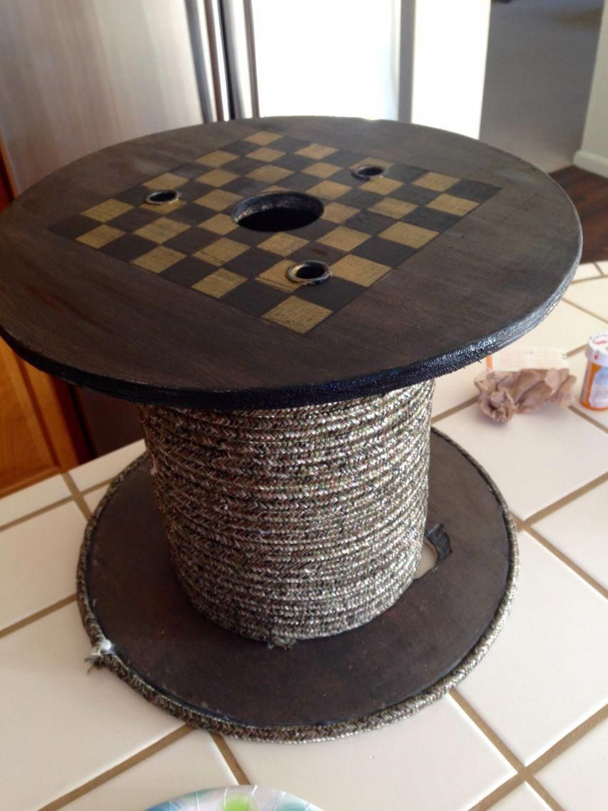 exciting cable spool kitchen table | Spool checker board #spoolchair | Wooden spool tables ...