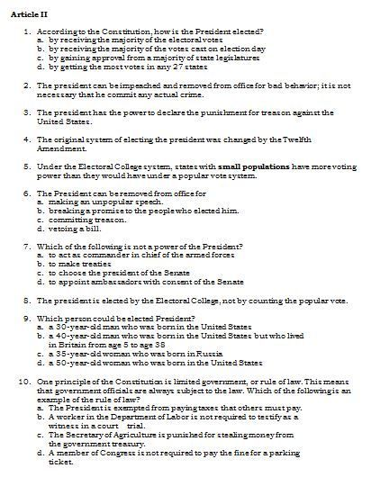 a77c519380f49d Sample Article II Questions from the Set of U.S. Constitution Quiz Questions.  More than 100 questions covering all 7 Articles included!