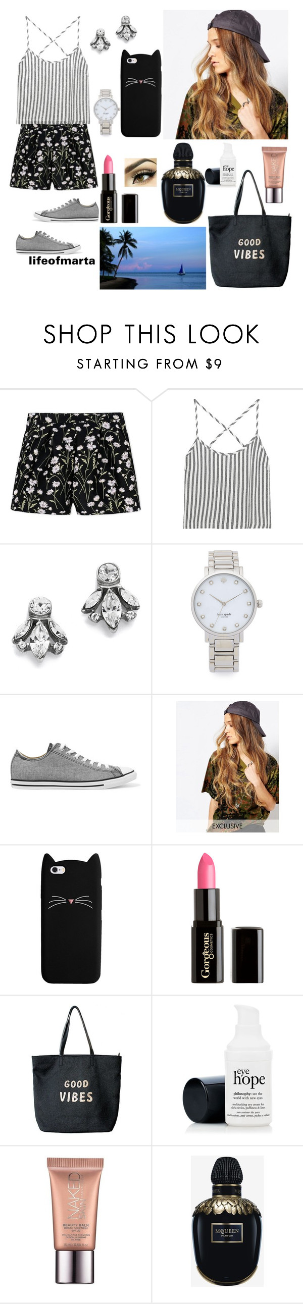 """*shrugs*"" by lifeofmarta ❤ liked on Polyvore featuring Giambattista Valli, Kain, Ben-Amun, Kate Spade, Converse, Reclaimed Vintage, Gorgeous Cosmetics, Venus, Urban Decay and Alexander McQueen"