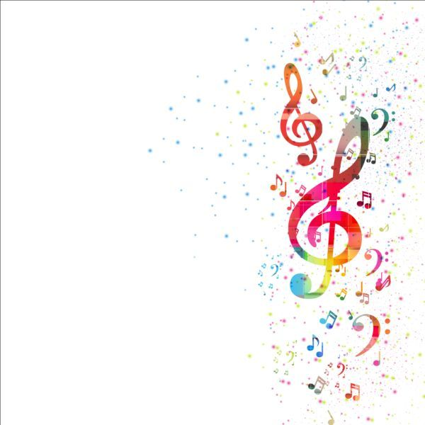 Colorful Music Note With Grunge Background Vector Music Notes Background Music Notes Music Backgrounds