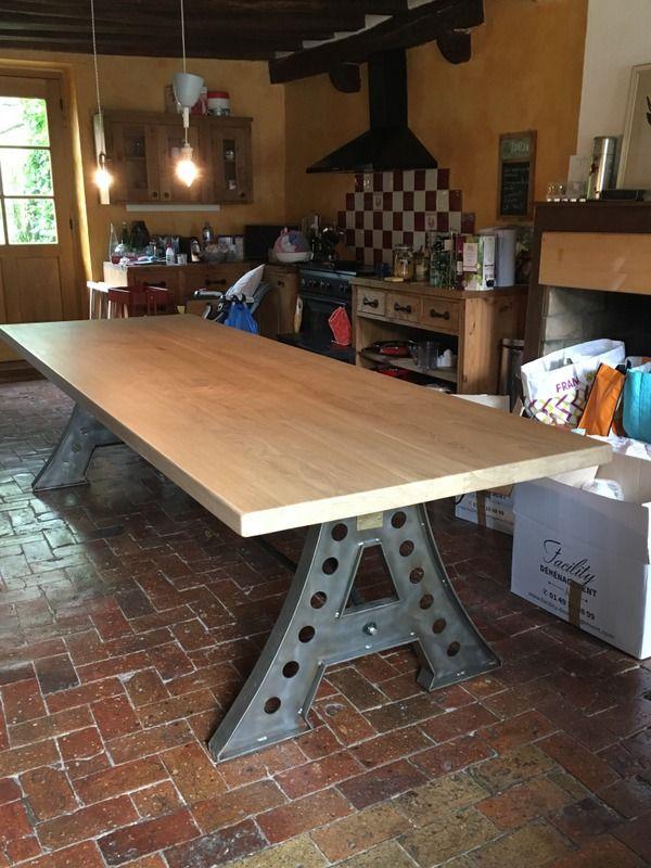 Grande Table Industrielle Pieds Eiffel En Fer Table Industrielle Table Bois Et Table