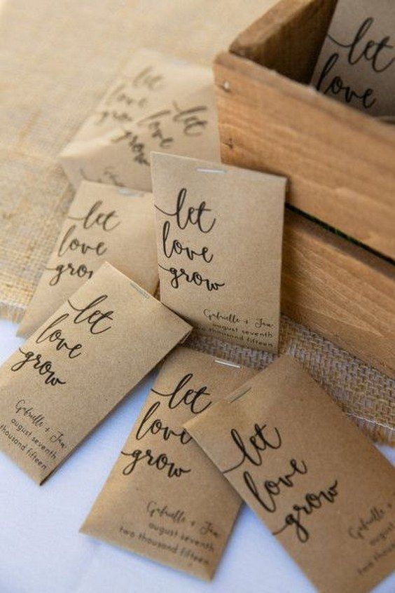 Kraft Paper Seed Packets With Let Love Grow In Modern Calligraphy As Favors On Your Wedding Day Great Idea For Guests To Take Home And Watch