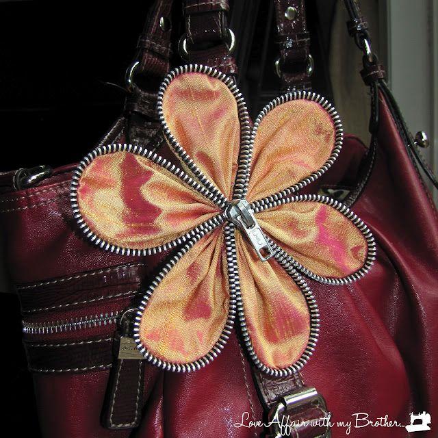 Zipper and silk flower
