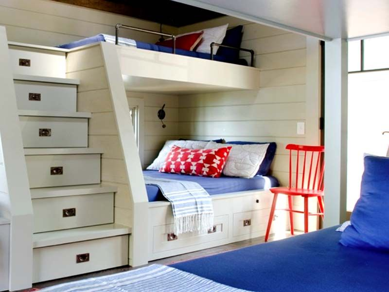 Modern cool built in bunk beds for small rooms with steps stairs bunks nooks pinterest - Double deck bed designs for small spaces pict ...