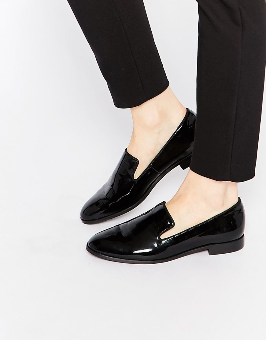 Black Patent Pointed Flat Loafer Shoes