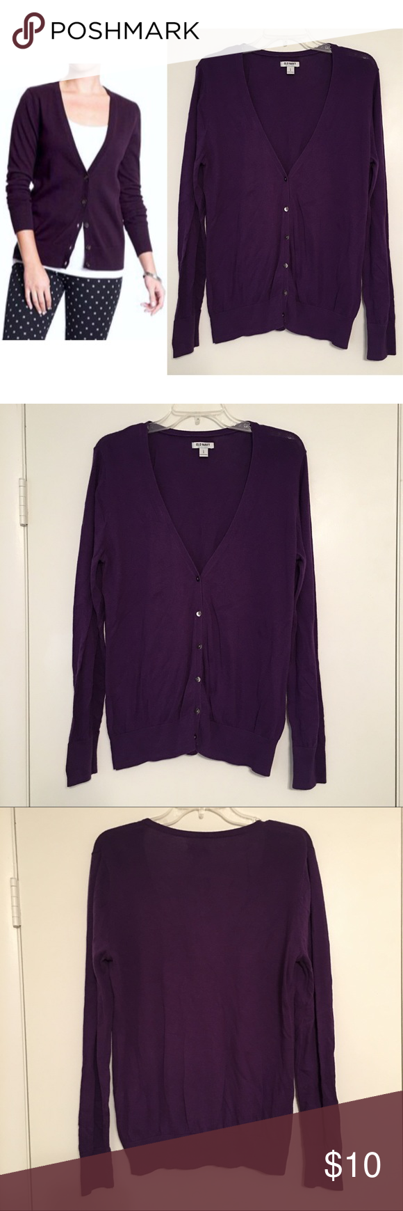 Old Navy Dark Purple V-Neck Cardigan | Navy, Sweater cardigan and ...
