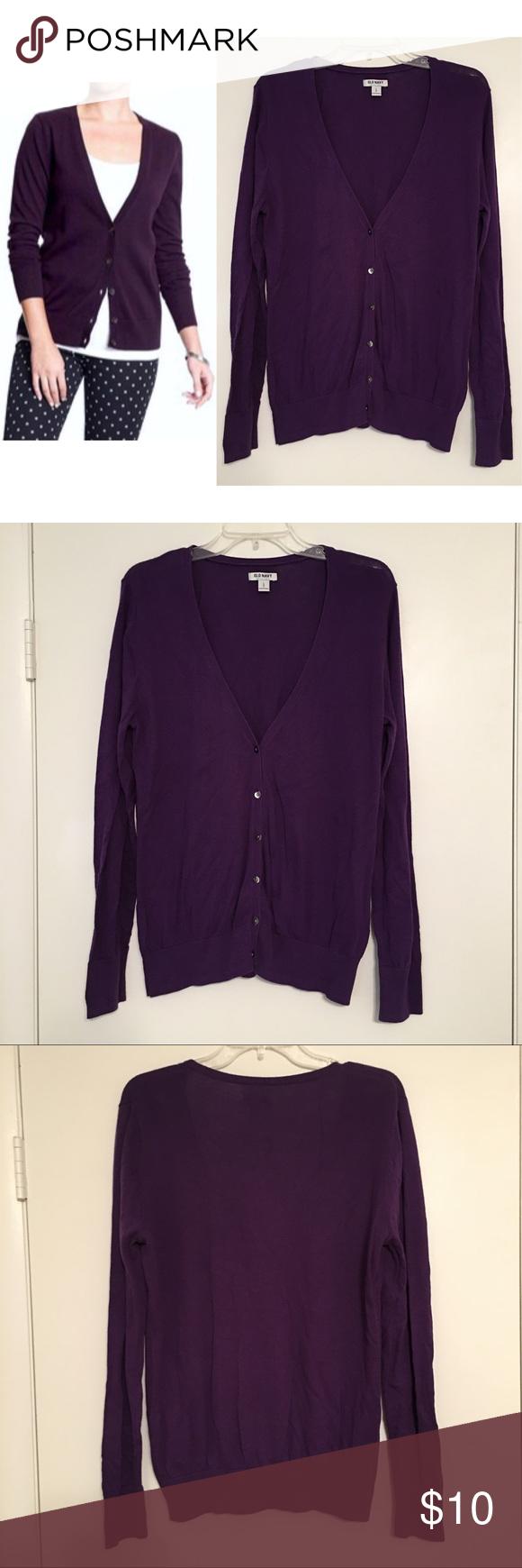 Old Navy Dark Purple V-Neck Cardigan | Navy, Sweater cardigan and ...