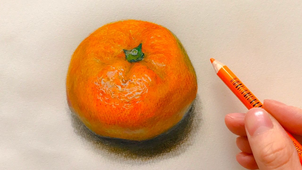 Hyper realistic speed drawing how to draw orange yui colored