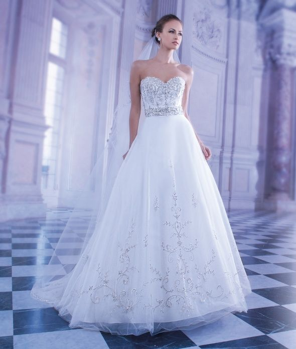 Classic Slightly Beaded Ballgown Demetrios Wedding Gown Style 551