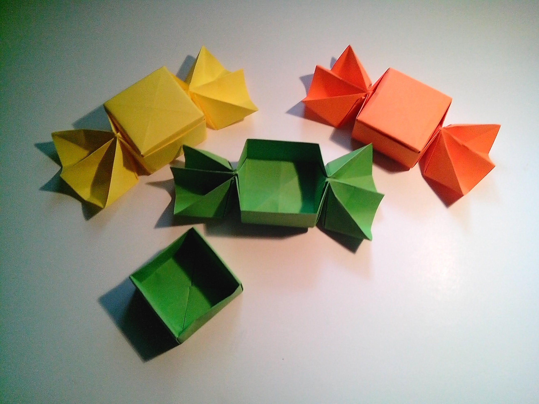 Como hacer una caja caramelo de papel sin pegamento - Como forrar una caja con tela ...
