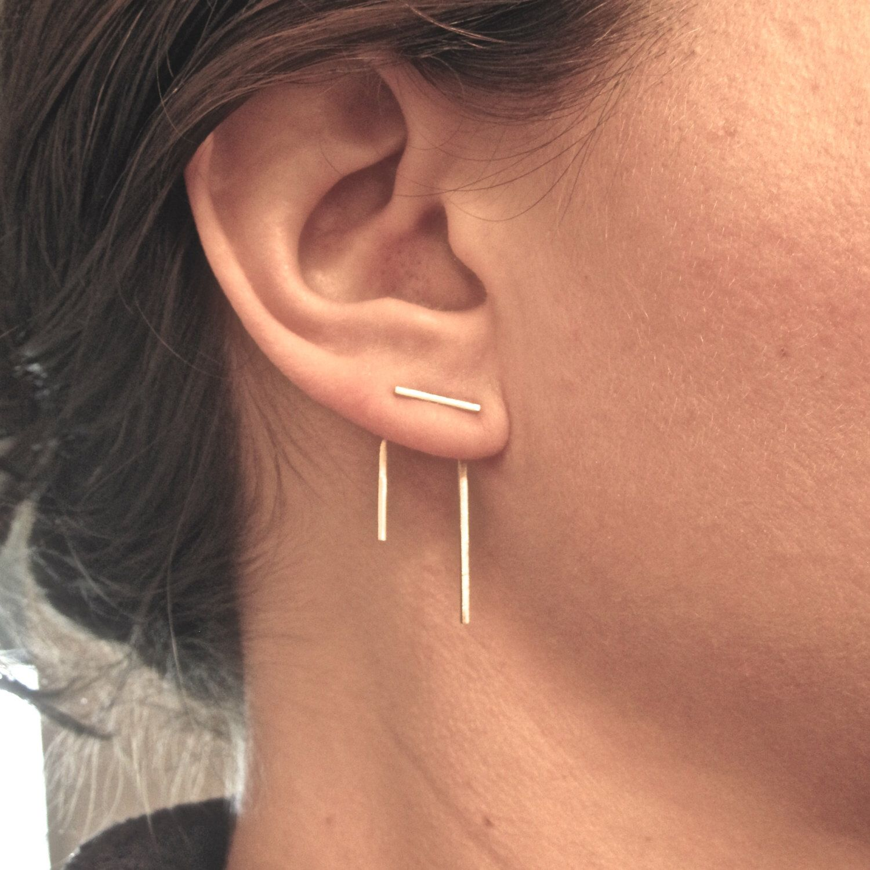 Double nose piercing both sides  K gold Staple line ear jacket stud set jacket pair u stud pair mix