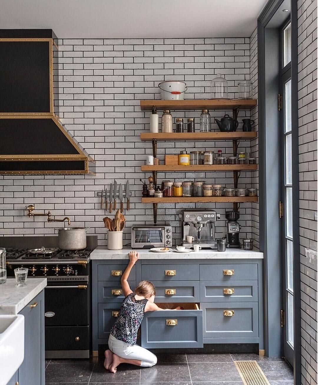 "Studio McGee on Instagram: ""Ali Cayne's kitchen is endlessly inspiring to me. 😍 The blue gray. The subway tile. The open wood shelving. It's all good, so we built a…"""