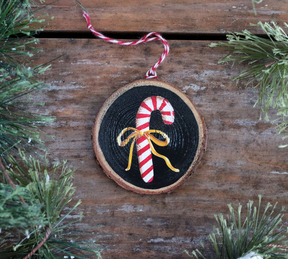 Personalized Ornament Candy Cane Hand Painted Wood Slice Country Christmas Decor Handmade Candy Cane Ornament Wood Slice Ornament Christmas Ornaments