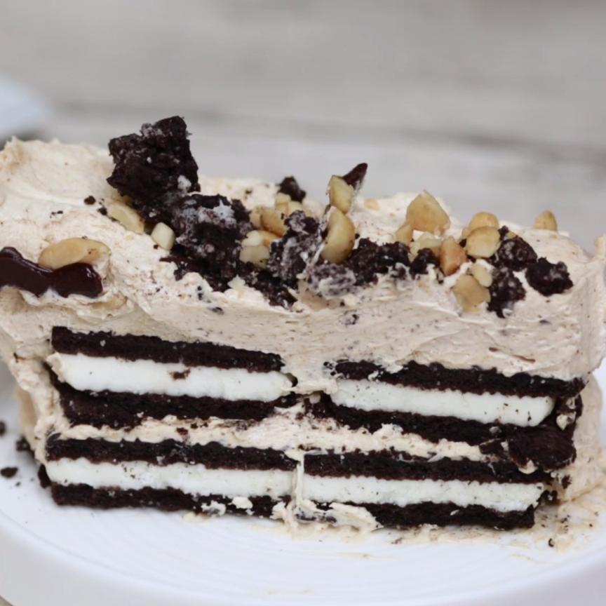 Oreo Peanut Butter Ice-Box Cake