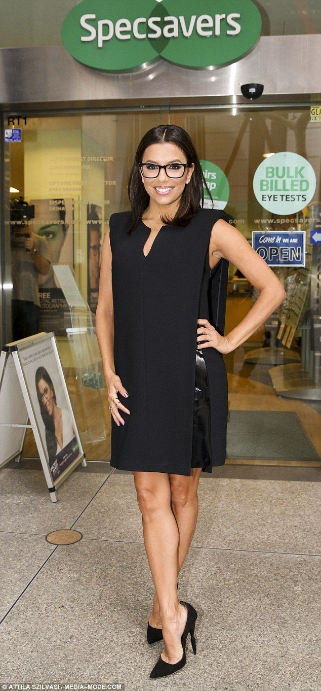 Focused: Eva Longoriaopted for a head-to-toe noir to friont the Specsaver's competition f...