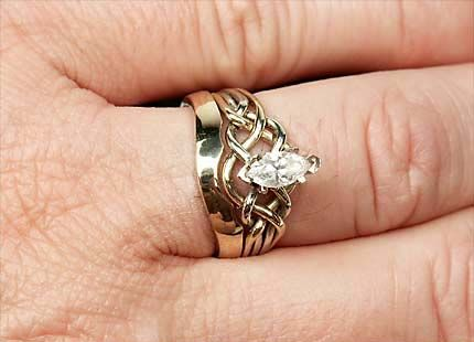 Marquise Diamond Puzzle Ring With Custom Companion Band Pretty
