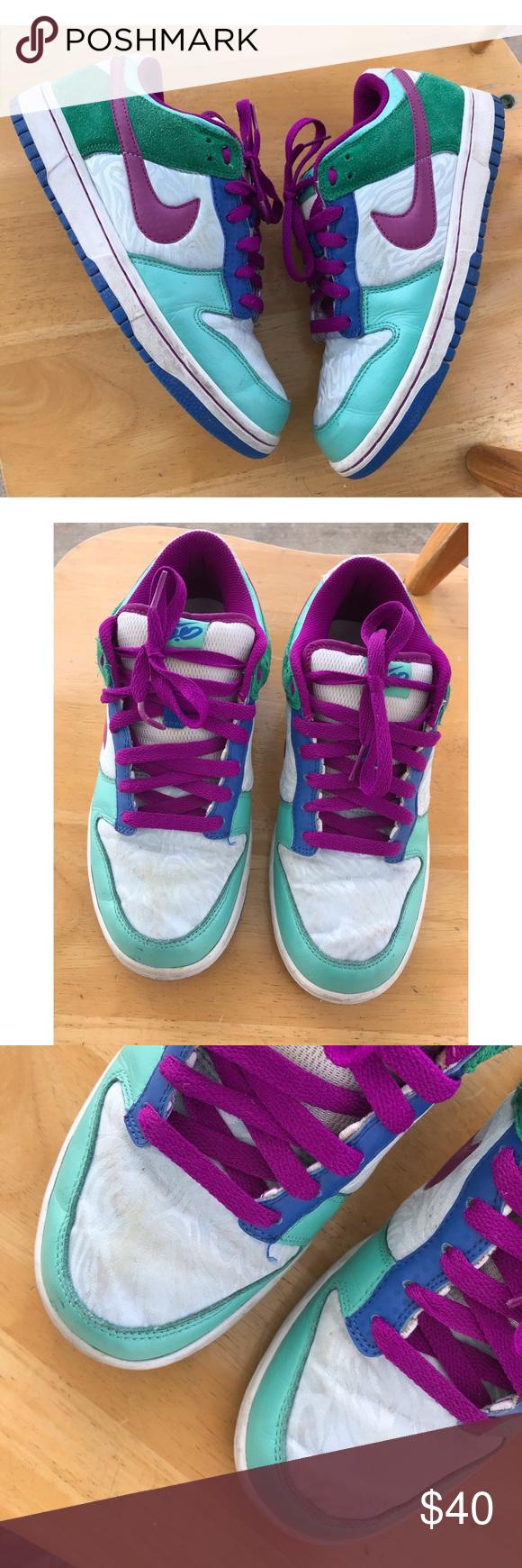 Manga Transición azafata  Nike SB 6.0 Low Dunk Shoes Women's 8.5 Vintage Nike SB 6.0 Low Dunks from  2009 Green, Purple , Blue & Silver Zebra Print Goo…   Women shoes, Vintage  nike, Nike sb