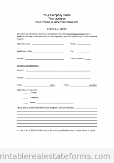 Referral Sheet For Realtors  Real Estate    Real