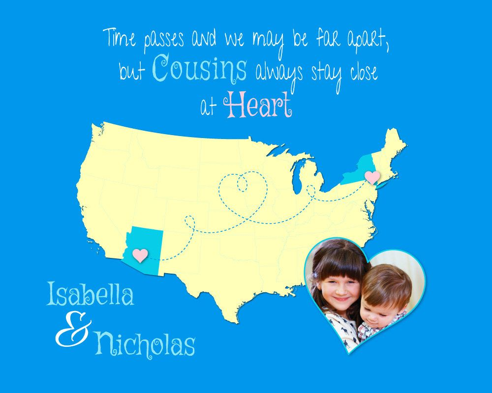 Custom cousin gift moving away present long distance gift custom cousin gift moving away present long distance gift birthday present for cousins negle Images