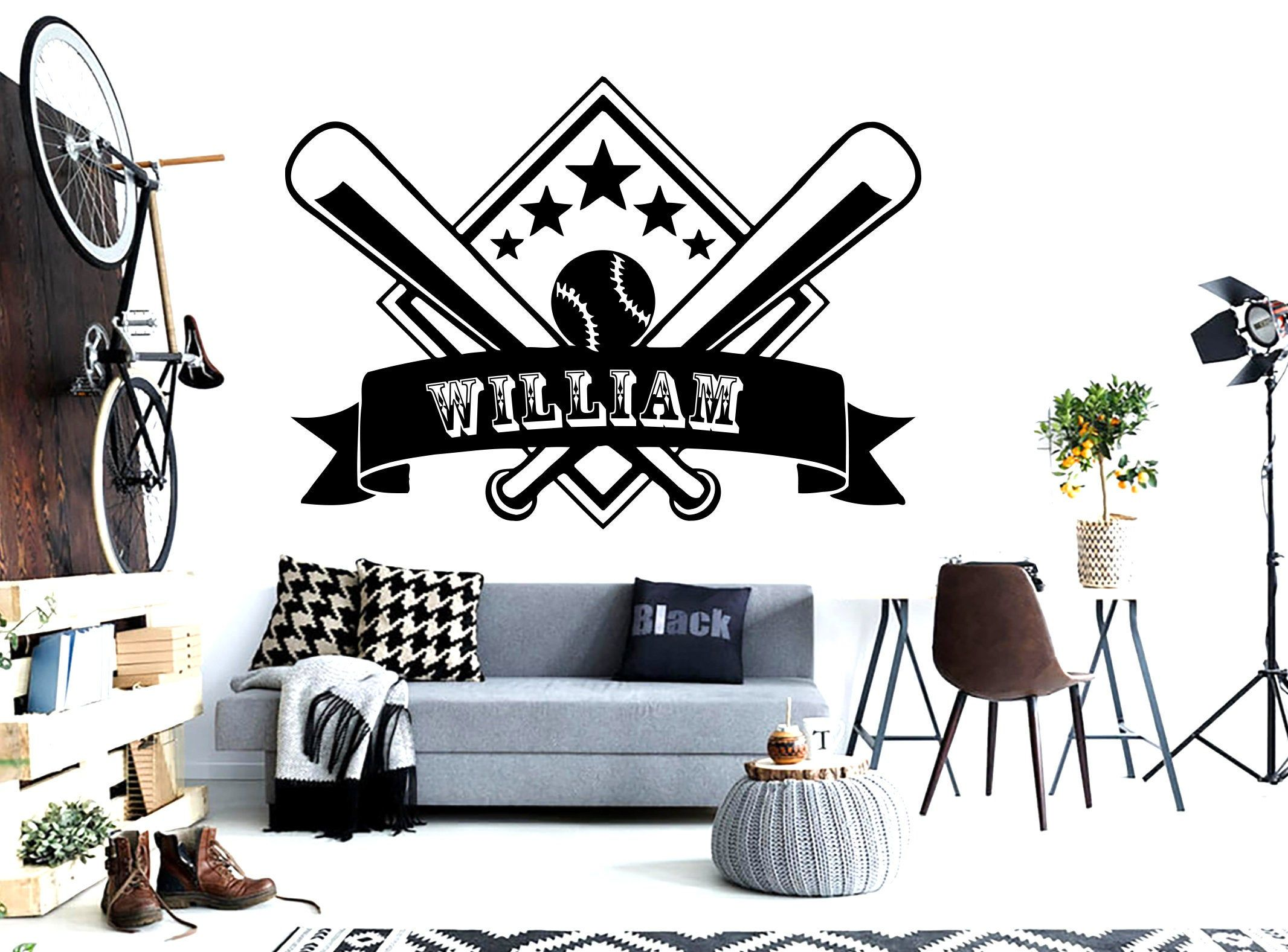 Baseball Wall Art Quote Personalized Gifts Custom Decal Wall Decal Sport Vinyl Boy Wall Art Jersey Wall Stickers Kids Room Home Decor 791er In 2020 With Images Sports Wall Decals Baseball