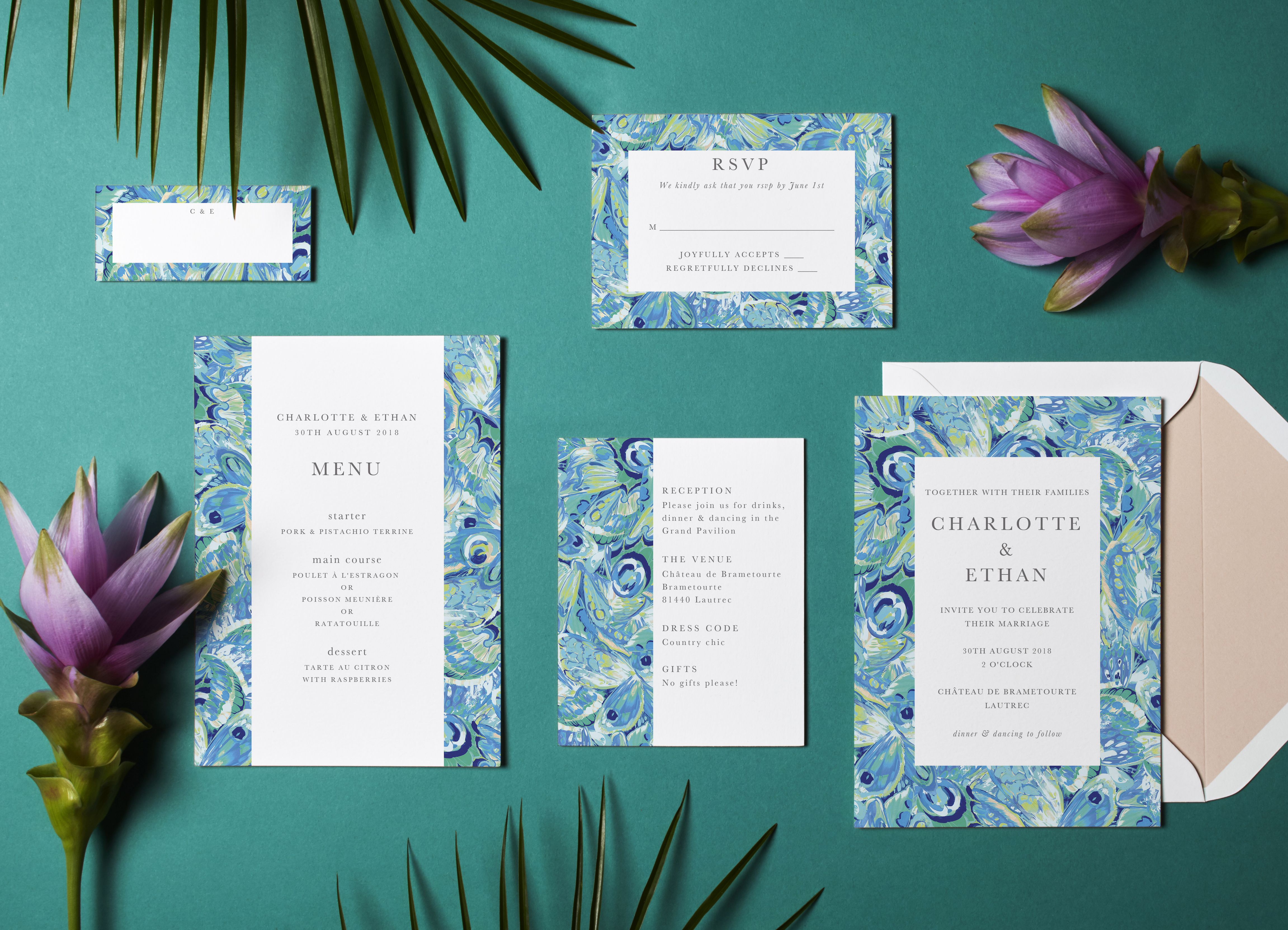 Butterly Marble wedding suite by @matthewwilliamson for Papier ...