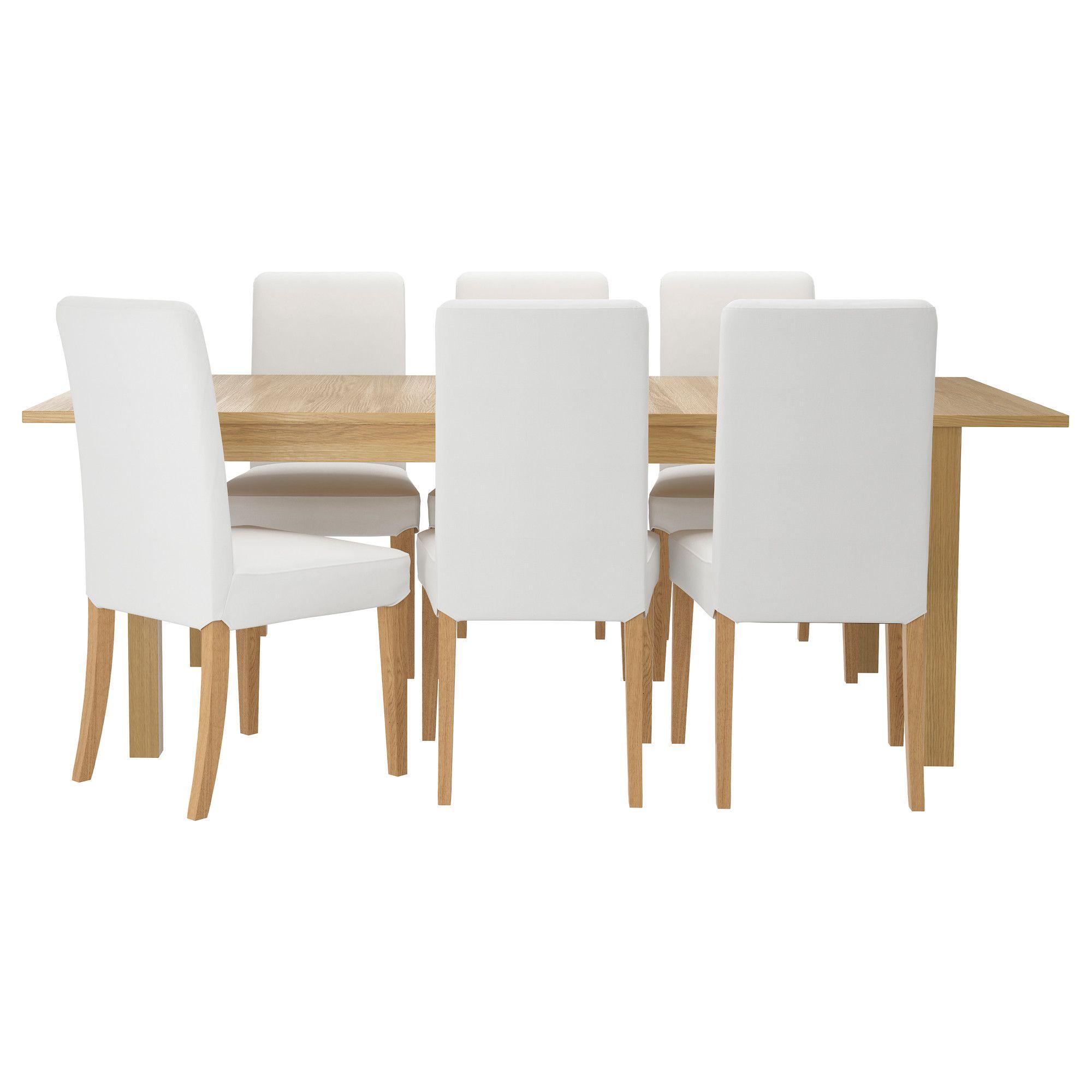 Tavolo Ikea Bjursta Bianco.Bjursta Henriksdal Tavolo E 6 Sedie Gobo Bianco Rovere
