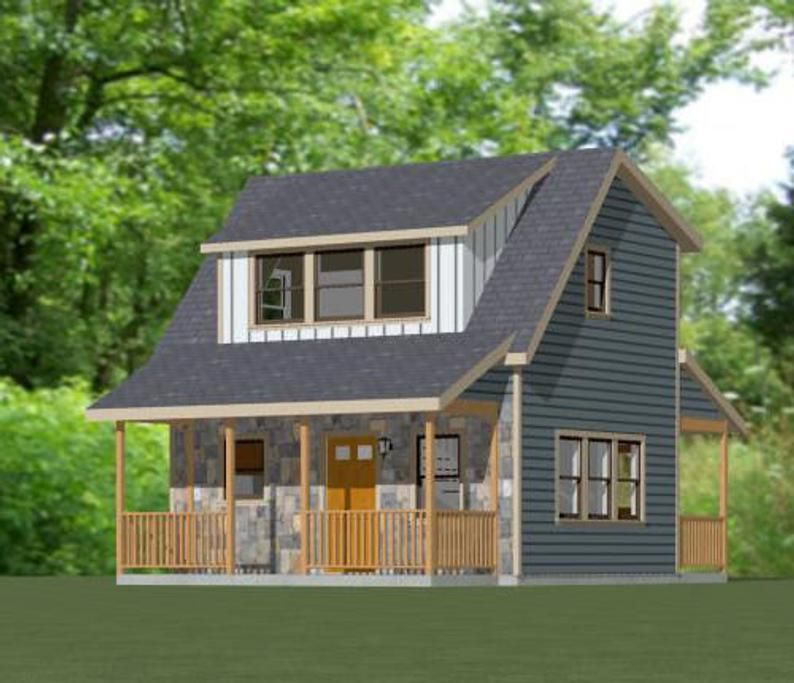 20x16 House 1 Bedroom 1 5 Bath 557 Sq Ft Pdf Floor Etsy Tiny House Floor Plans House House Plans