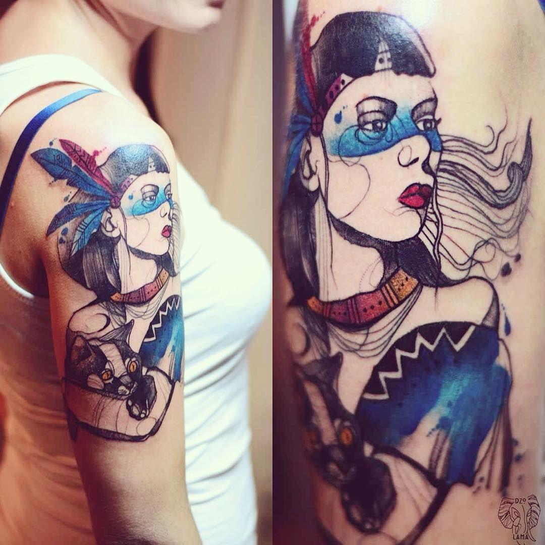 """Indian girl for Karolina ;) #indian #girl #polishgirl #feather #wroclaw #poland #sketch #cat #dzo_lama"""