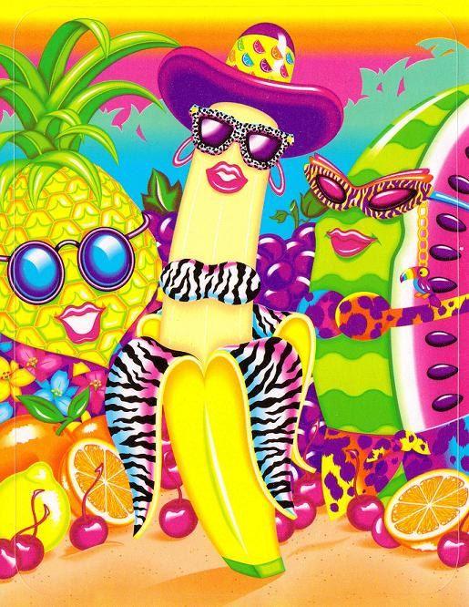 best lisa frank ever lmfao VTG Lisa Frank Large Tropical Fruit Sticker banana watermelon pineapple 90's
