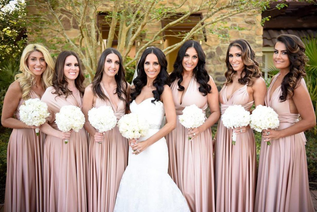 Rosewater neutral twobirds bridesmaid dresses a real wedding rosewater neutral twobirds bridesmaid dresses a real wedding featuring our multi way convertible ombrellifo Gallery