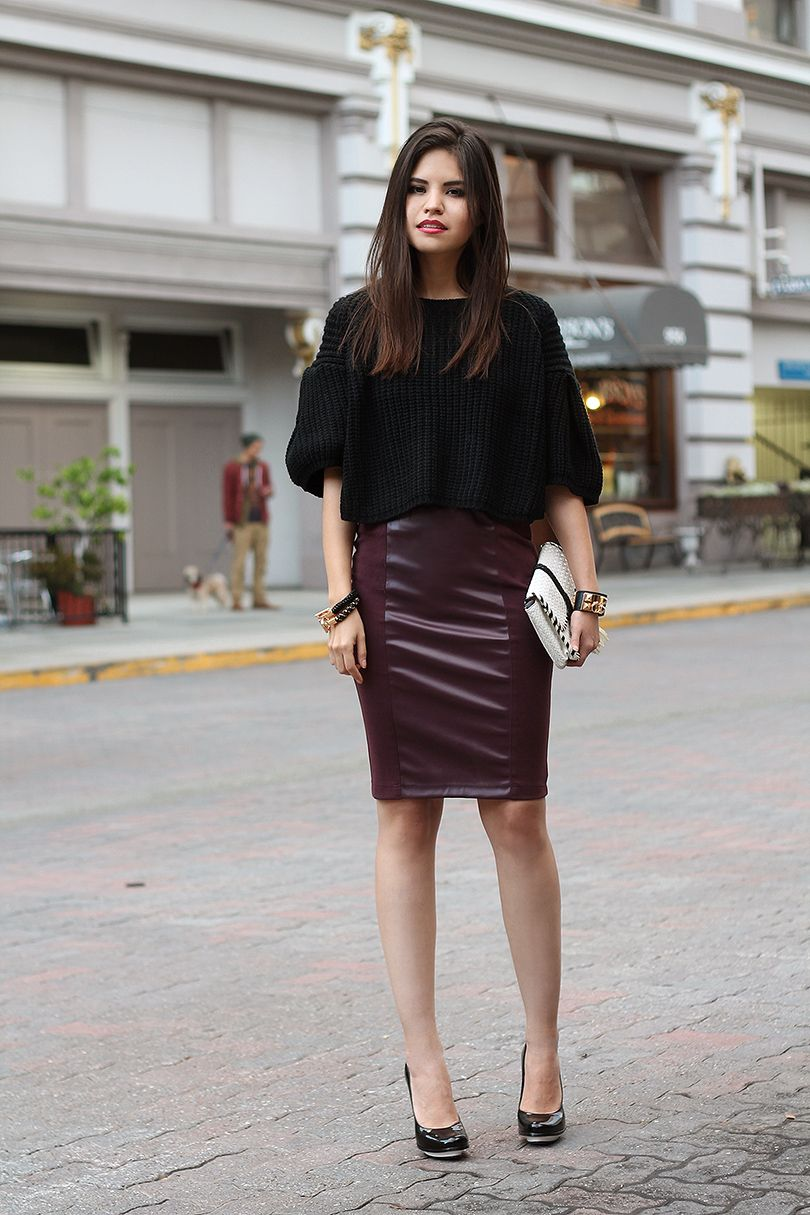 ac72a9aff04 Leather Pencil Skirt Outfits Tumblr