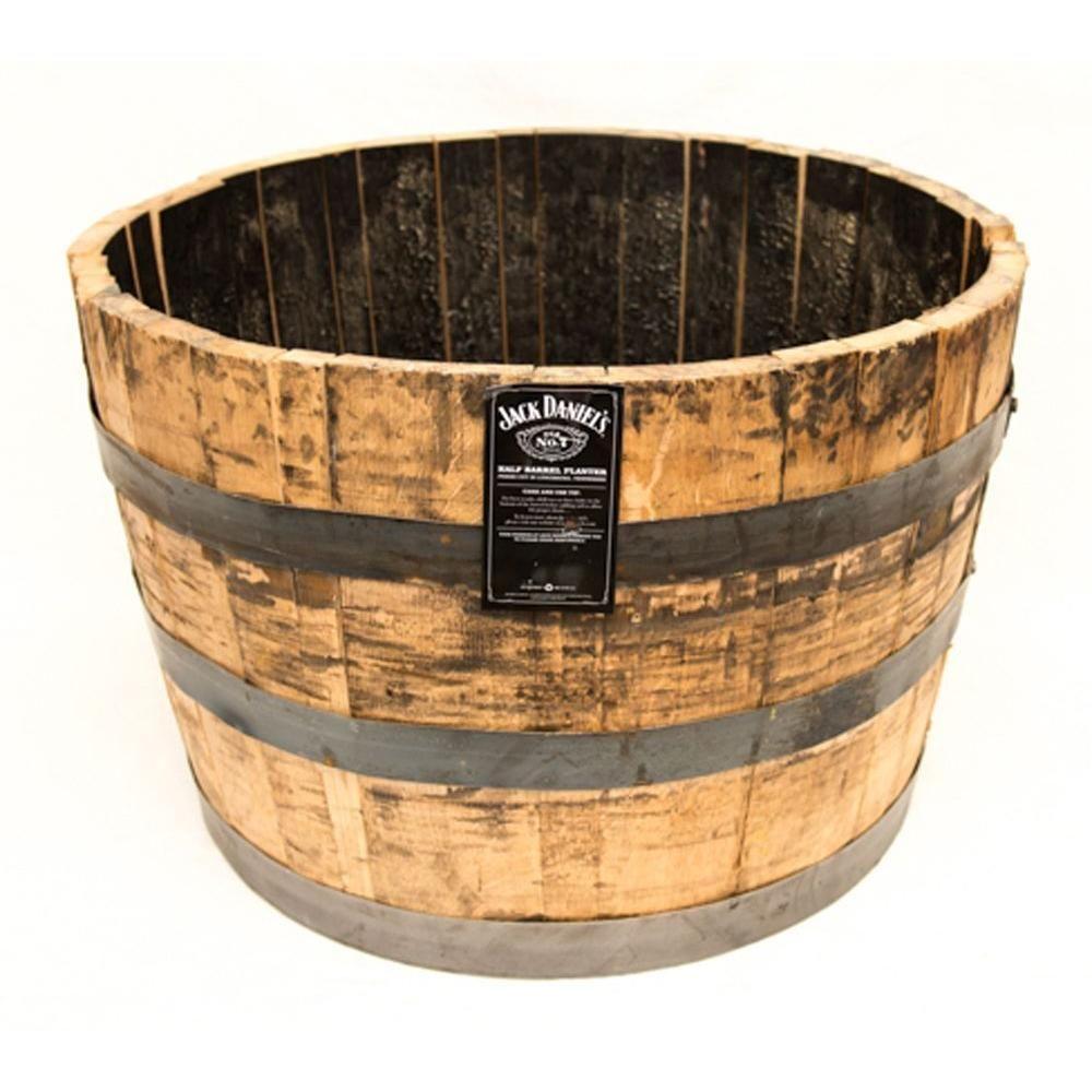 25 In Dia Oak Wood Whiskey Barrel Planter B100 The Home Depot Wine Barrel Planter Whiskey Barrel Planter Barrel Planter