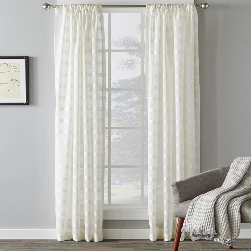 Knap Striped Sheer Rod Pocket Single Curtain Panel Panel Curtains Curtains Paneling
